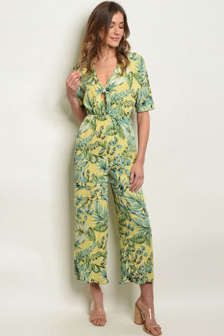 'Escape' Yellow Palm Leaves Print Jumpsuit