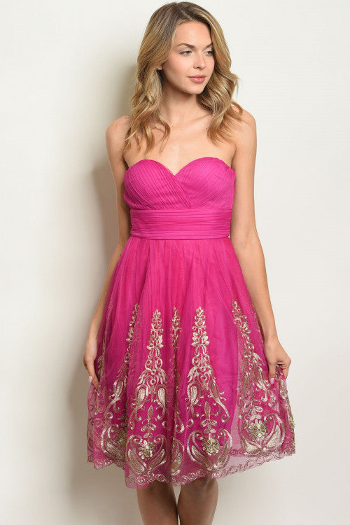 'Reminisce' Magenta & Gold Sweetheart Dress