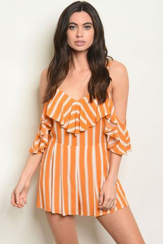 'Malibu' Orange Ivory Striped Romper