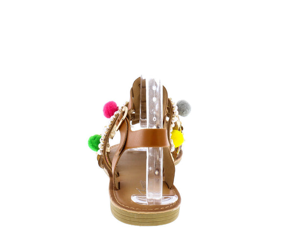 'Wreck My Party ' Tan Pom Pom Multi-Charm Sandals