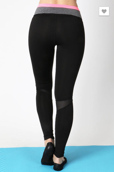 'All In' Black Neon Pink Athletic Leggings