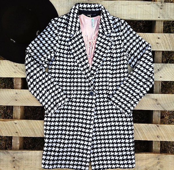 'Making Plans' Houndstooth Black/Ivory Coat
