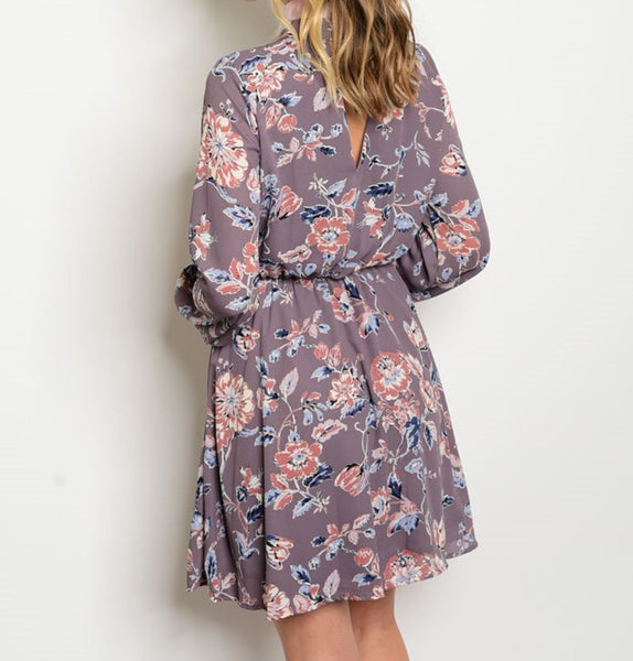 'Beginning To Bloom' Dark Lavender Floral Dress