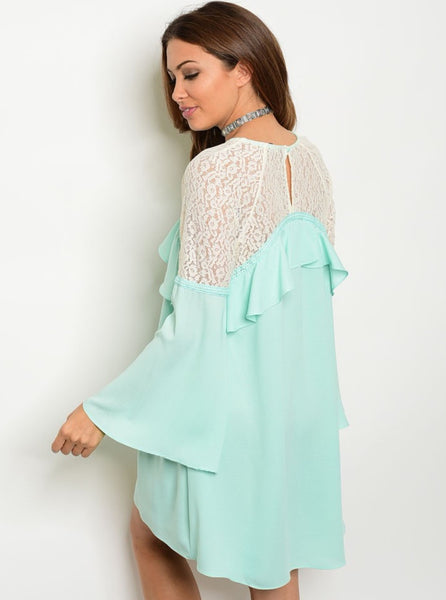 'Everything You Are' Mint Cream Lace Ruffle Dress