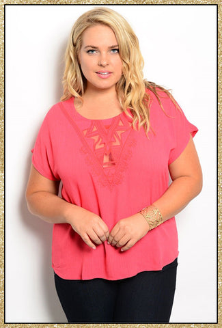 Coral short sleeve curvy top for plus size