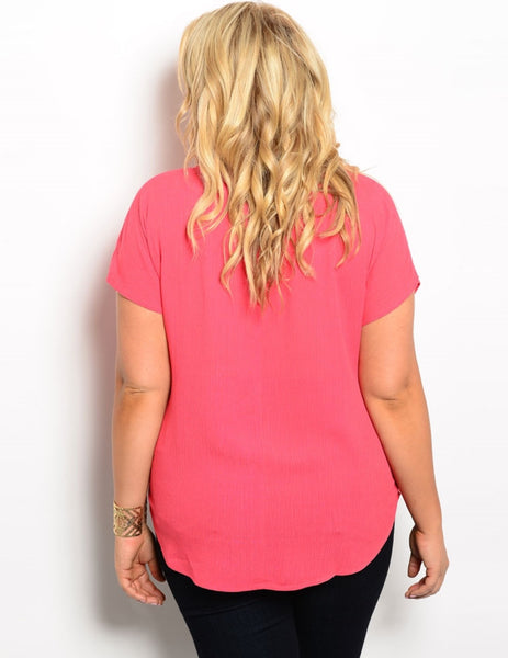 'All I See' Deep Coral Top (CURVY)