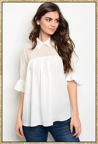 White collared top with 3/4 ruffles sleeves and a bow tie on upper back
