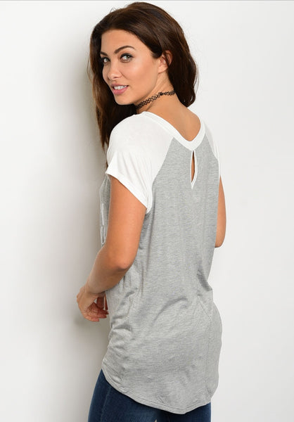 'It's Game Day Y'all' Grey Ivory Short Sleeve Top