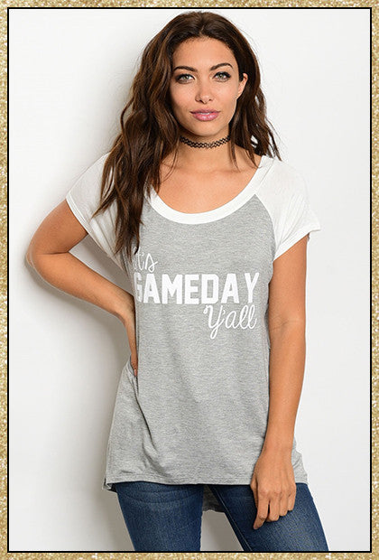 """Gameday"" grey and ivory short sleeve top"