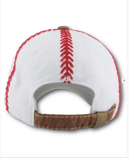 'Homerun' White Camel Stitched Baseball Hat