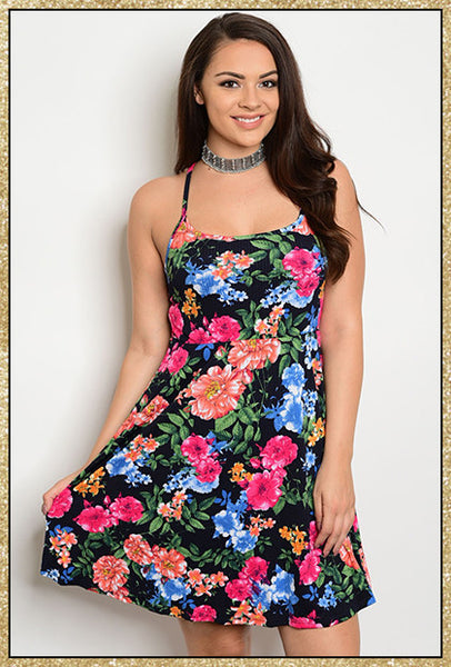 Navy blue multi-colored floral spaghetti strap plus size short dress