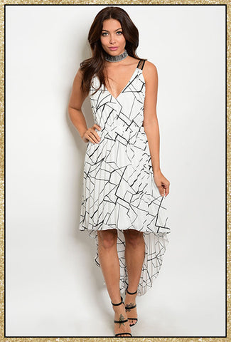 White and black high low dress with abstract design