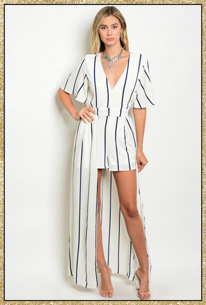 White and navy blue striped romper dress with v neck and tie around the waist