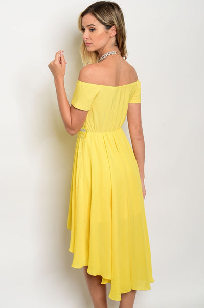 'Til' Tomorrow' Yellow Off Shoulder High-Low Dress