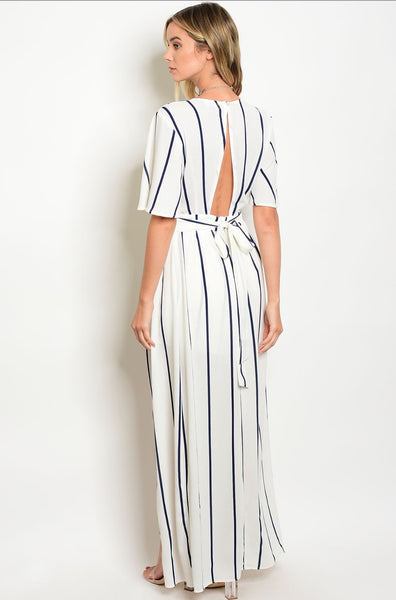 'High Standards' Navy White Striped Romper