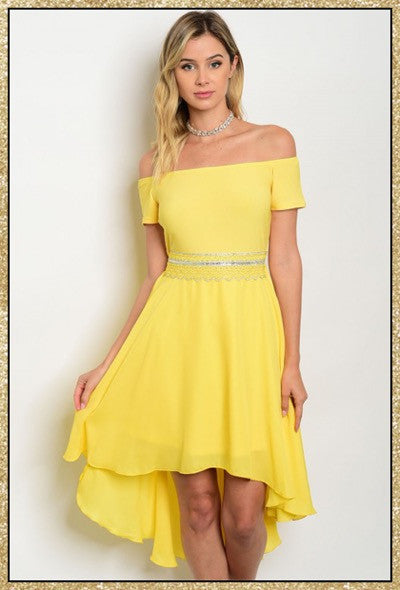 Yellow off shoulder high low dress with embellished waist detail