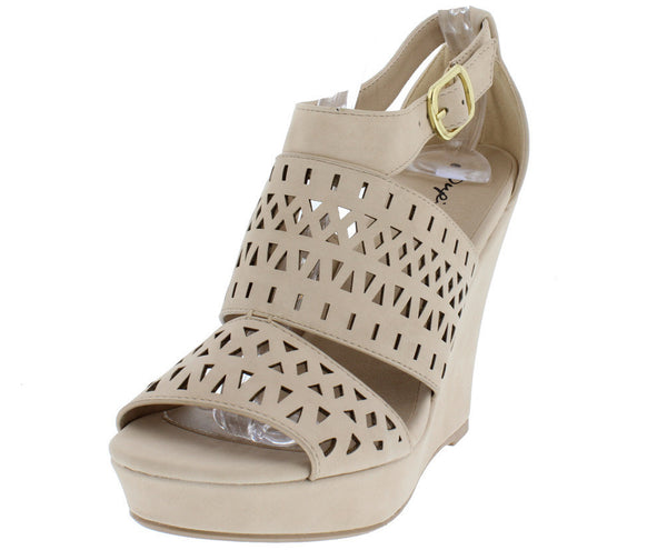 'The Lauren' Beige Wedge Heels