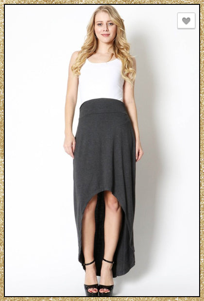 'Remind Me' High Low Charcoal Grey Skirt