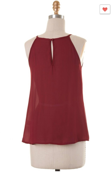 'Feelin' Fringy' Garnet/White Fringe Top