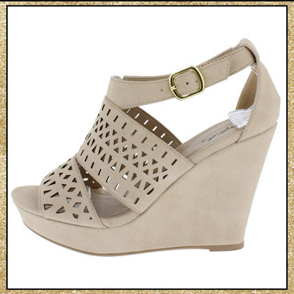 Beige wedge heels with buckle ankle strap