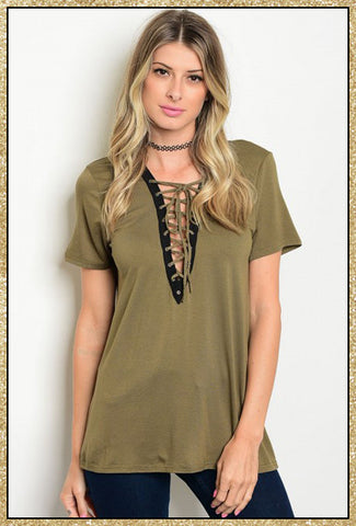 Olive green short sleeve top with lace up v neck design