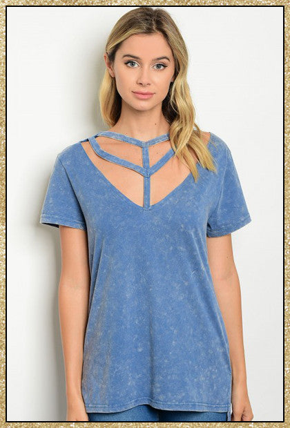 Blue tie dye short sleeve top with caged design details across chest and neck