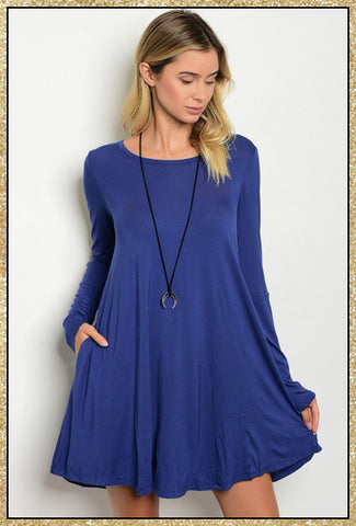 Blue long sleeve piko dress with tan elbow patch details