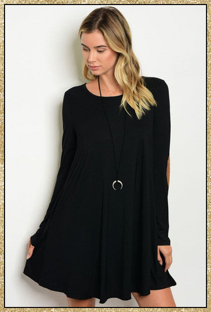 Black long sleeve piko dress with tan elbow patch details