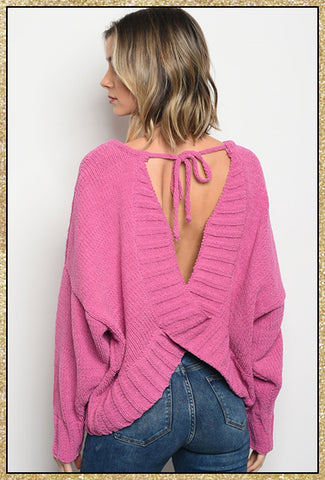 'Falling Right Back' Fuchsia Open Back Sweater