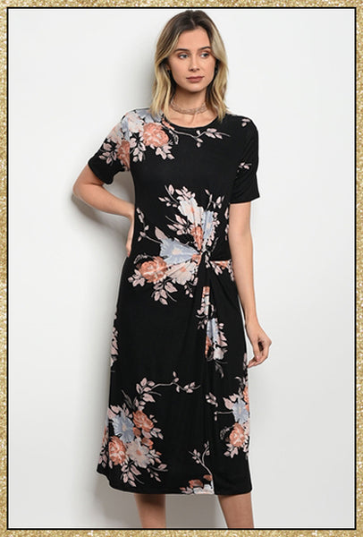'Counts For Something' Black Short Sleeve Floral Midi Dress