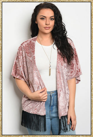 Plus size short sleeve blush kimono with velvet damask print and black fringe along bottom hem