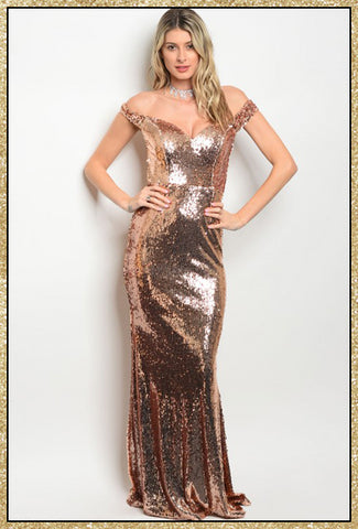 'Spotlight' Rose Gold Sequin Off Shoulder Mermaid Dress