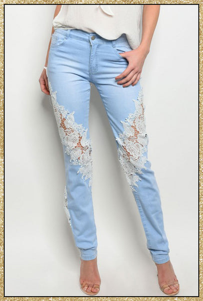 'Reclaim' Mid Rise Light Wash Floral Crochet Skinny Jeans