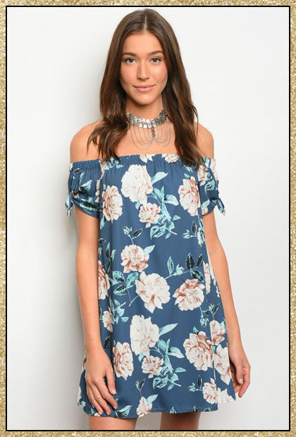 'Delilah' indigo floral off the shoulder dress with ties on each side