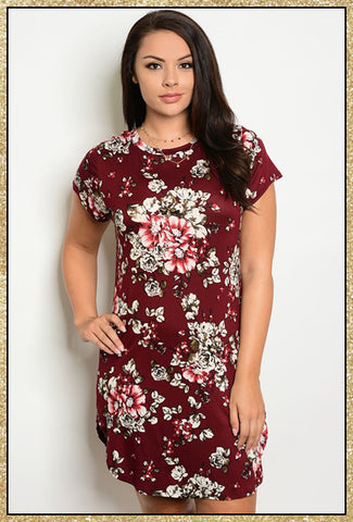'What If' Burgundy Floral Short Sleeve Dress (CURVY)