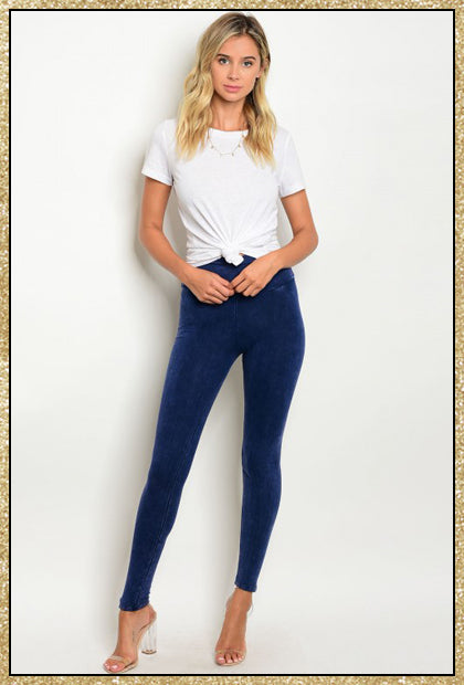 Navy blue washed leggings with wide waist band.