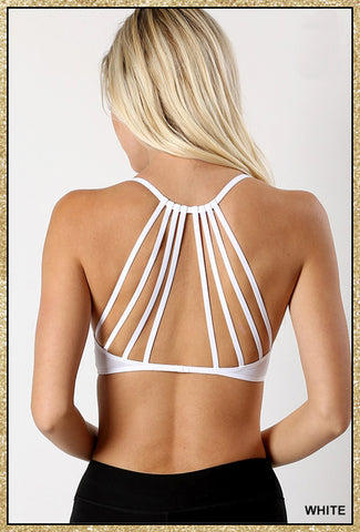 'By Chance' White Caged Back Padded Bralette Top