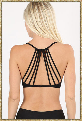 'By Chance' Black Caged Back Padded Bralette Top