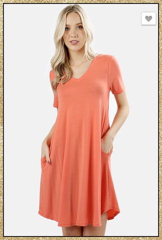 Deep coral short sleeve soft v neck dress with side pockets