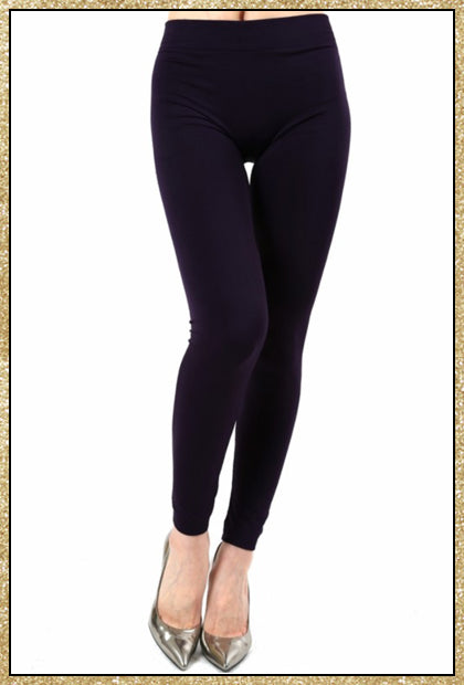 'Cool Nights' Dark Purple Fleece Lined Seamless Leggings