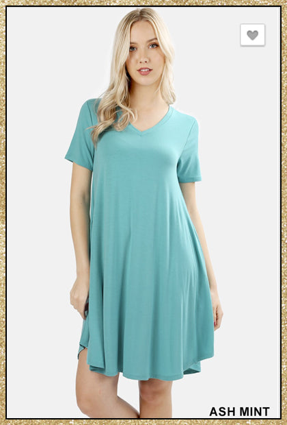 'Show Me' Ash Mint Short Sleeve V Neck Piko Dress