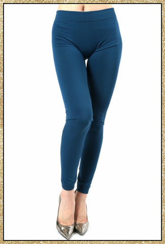 'Cool Nights' Teal Fleece Lined Seamless Leggings