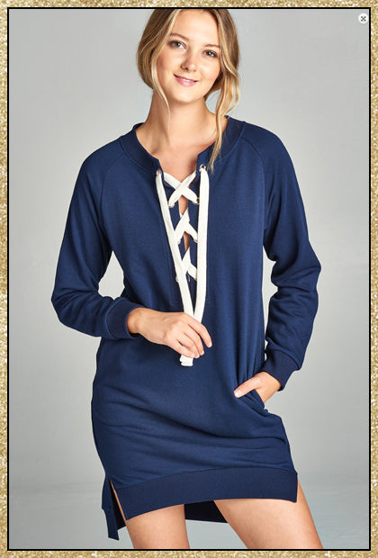 'Time Out' Navy Blue Lace Up French Terry Sweater Dress