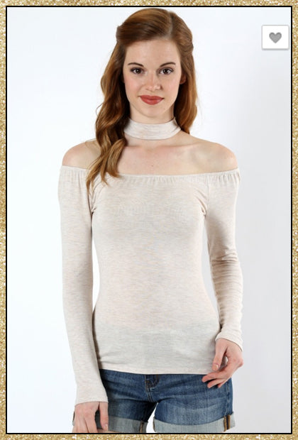'Sweet Affliction' Heather Beige Off Shoulder Choker Long Sleeve Top