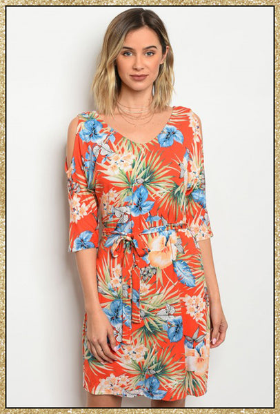 'Pack Your Bags' Orange Blue Cold Shoulder Tropical Floral Dress