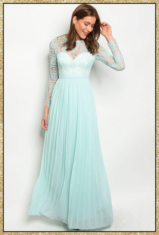 'Bliss' Mint Lace Long Sleeve Full Length A-Line Dress