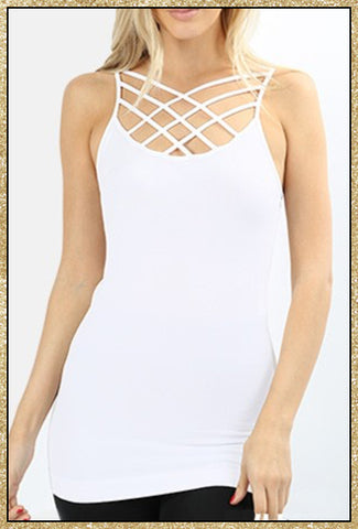 'Solitude' White Seamless Triple Criss-Cross Front Cami Top