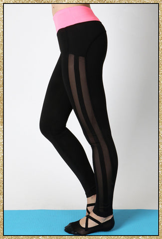 'Balance' Black Neon Pink Paneled Athletic Leggings