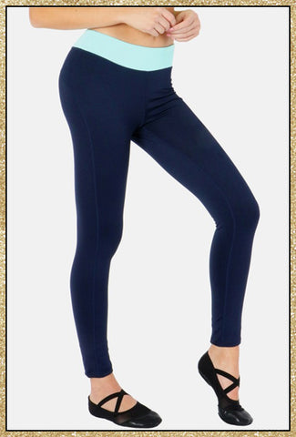 'Show Up' Navy Blue Mint Athletic Leggings