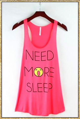 'Need More Sleep' Deep Coral Tank Top
